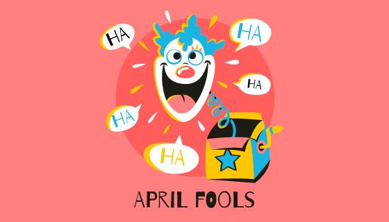 盒子里弹出的小丑愚人节矢量素材(AI/EPS)