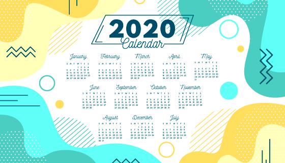 抽象流体设计2020年日历矢量素材(ai/eps)图片