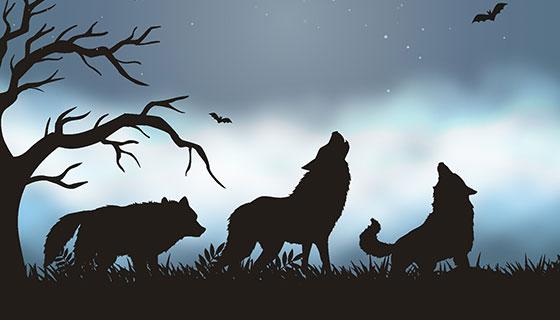 狼和蝙蝠矢量素材(EPS/AI)