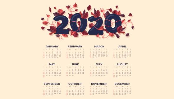 叶子点缀设计2020年日历矢量素材(AI/EPS)