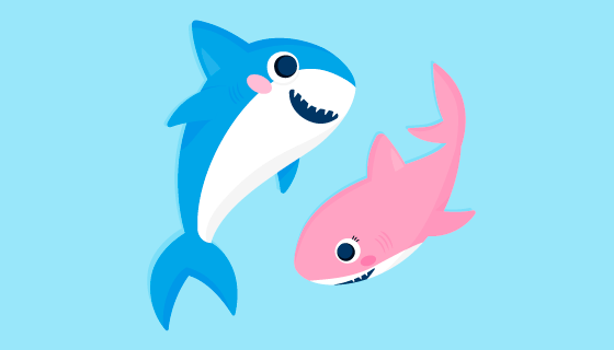 蓝色和粉色的鲨鱼宝宝矢量素材(AI/EPS/PNG)