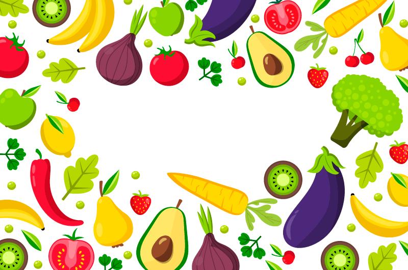 扁平风格水果蔬菜背景矢量素材(AI/EPS/免扣PNG)