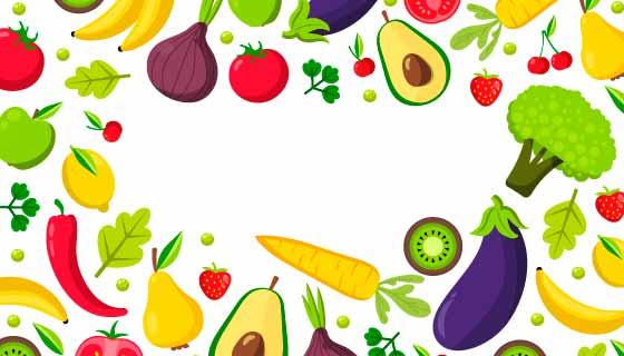 扁平风格水果蔬菜背景矢量素材(AI/EPS/PNG)