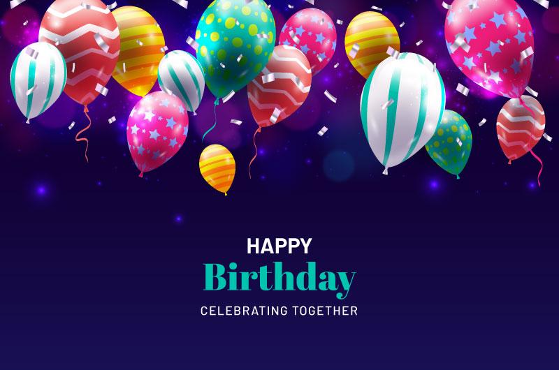 逼真多彩气球生日快乐背景矢量素材(AI/EPS)
