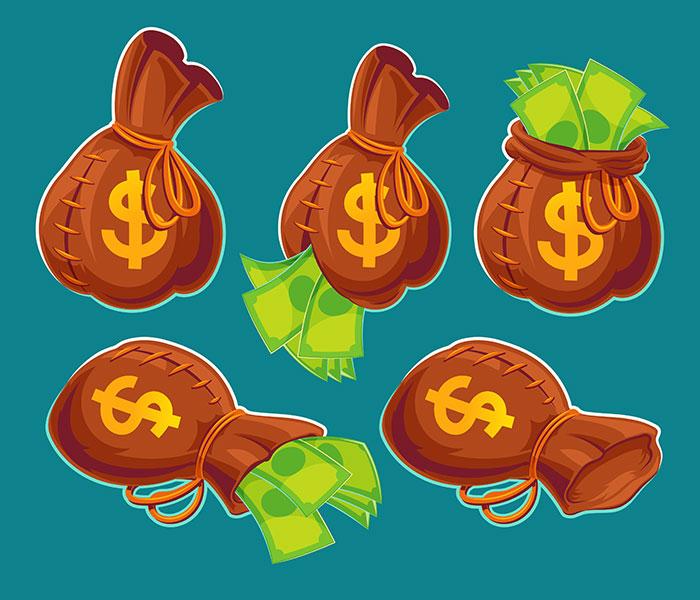 卡通钱袋和钞票矢量素材(EPS)