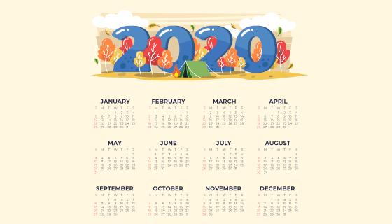 手绘野外设计2020年日历矢量素材(AI/EPS)