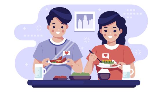 正在用餐的人们矢量素材(AI/EPS)