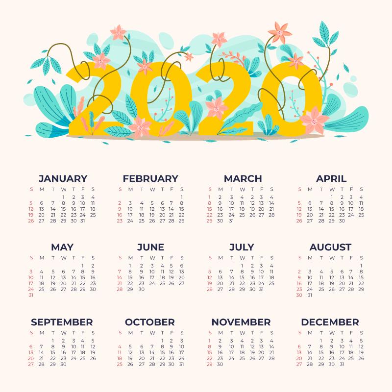 手绘漂亮花卉2020年日历矢量素材(AI/EPS)