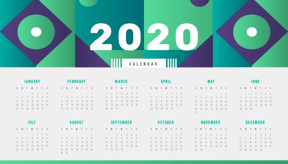 简单设计2020年日历矢量素材(eps)图片