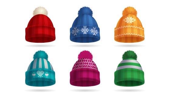 逼真的冬季针织帽子矢量素材(EPS)