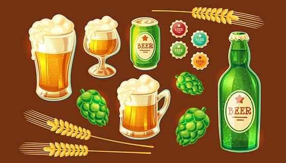 各种容器装的啤酒矢量素材(EPS)