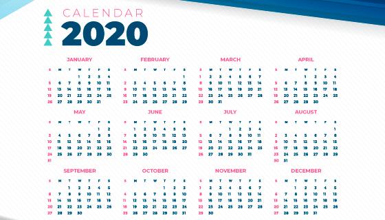 抽象简单的2020年日历矢量素材(AI/EPS)