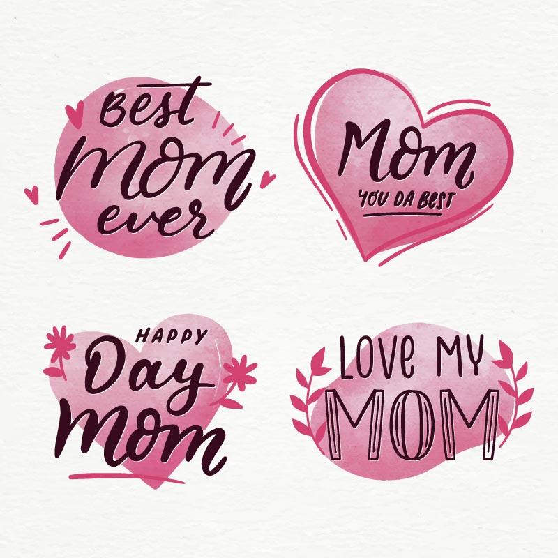 粉色爱心母亲节标签矢量素材(AI/EPS/免扣PNG)