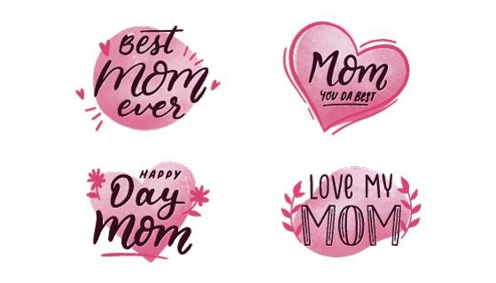 粉色爱心母亲节标签矢量素材(AI/EPS/PNG)