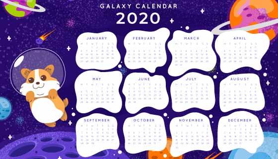太空设计2020年日历矢量素材(AI/EPS)