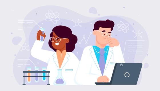 正在工作的科学家矢量素材(AI/EPS)