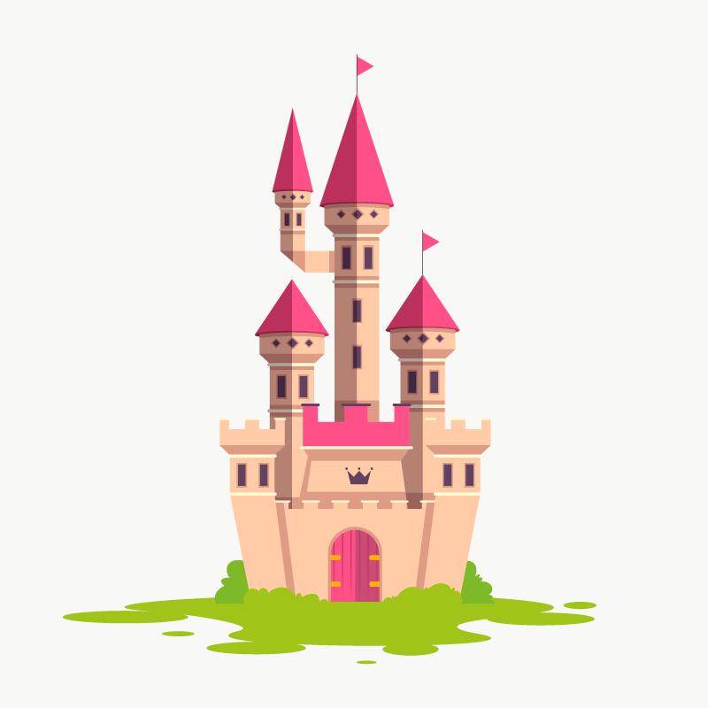 简单的童话城堡矢量素材(AI/EPS/免扣PNG)