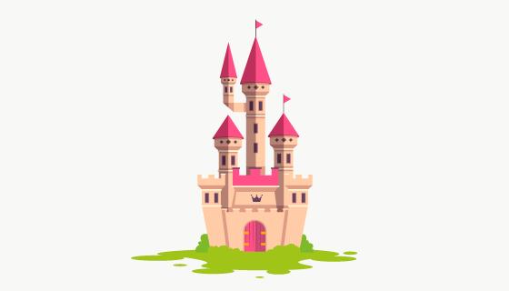 简单的童话城堡矢量素材(AI/EPS/PNG)