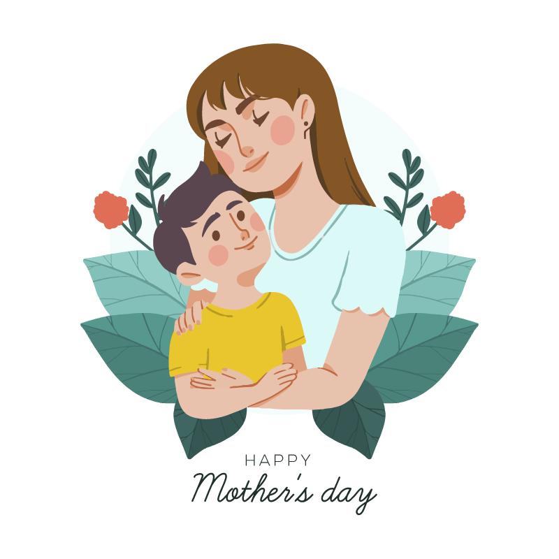 妈妈抱着孩子母亲节矢量素材(AI/EPS/免扣PNG)