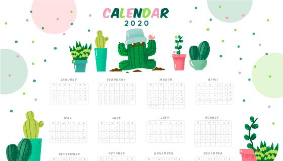 可爱盆栽设计2020年日历矢量素材(AI/EPS)