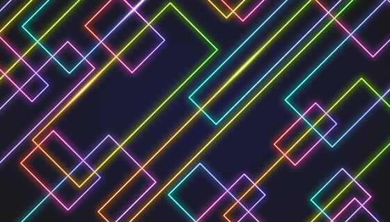 炫彩霓虹灯线条背景矢量素材(AI/EPS)