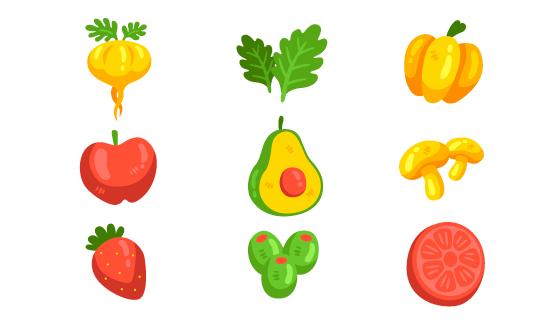 手绘风格可爱蔬菜水果矢量素材(AI/EPS/PNG)