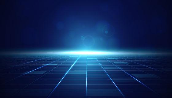 地平线上升起的蓝光科技背景矢量素材(AI/EPS)