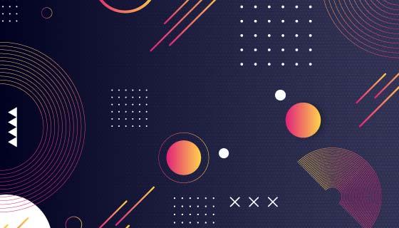 圆点和线条设计抽象背景矢量素材(AI/EPS)