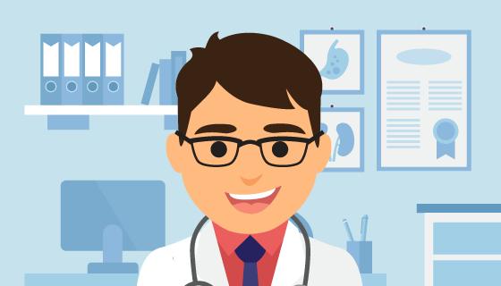 扁平风格设计的医生矢量素材(EPS)