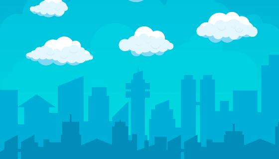城市和城市上空的白云矢量素材(AI/EPS)