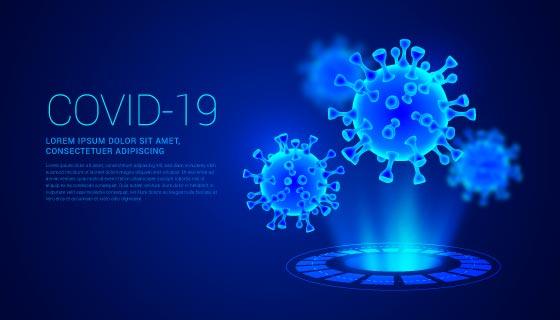 逼真的冠状病毒全息图背景矢量素材(AI/EPS)