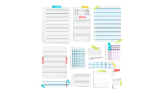 逼真笔记本纸张和便签矢量素材(EPS)