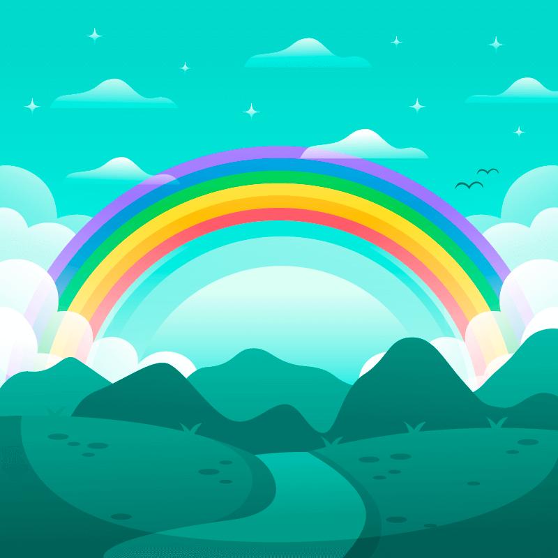 扁平风格山脉上的彩虹矢量素材(AI/EPS)