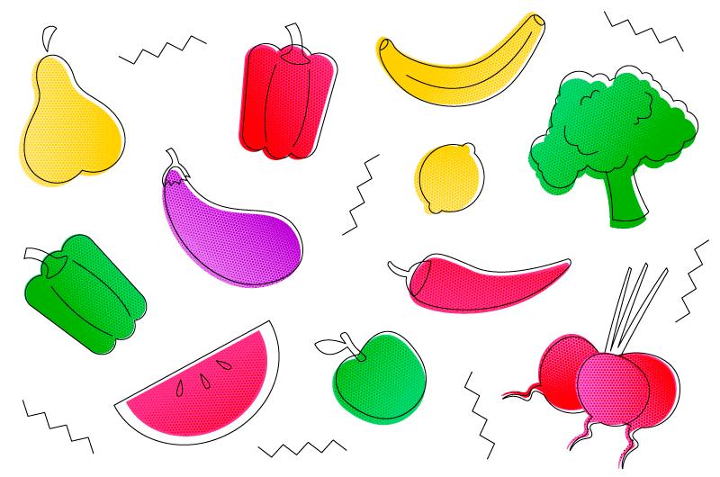 手绘风格的水果蔬菜矢量素材(AI/EPS/免扣PNG)