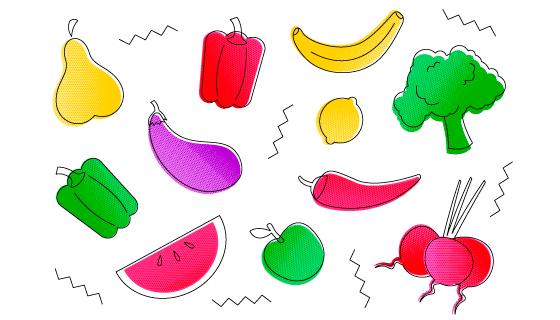手绘风格的水果蔬菜矢量素材(AI/EPS/PNG)