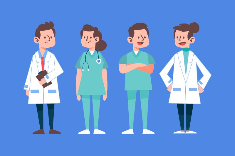 扁平风格的医生和护士矢量素材(AI/EPS/免扣PNG)