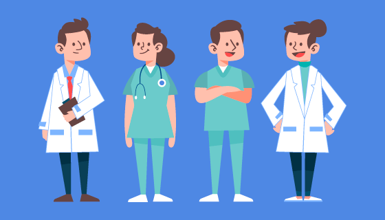 扁平风格的医生和护士矢量素材(AI/EPS/PNG)
