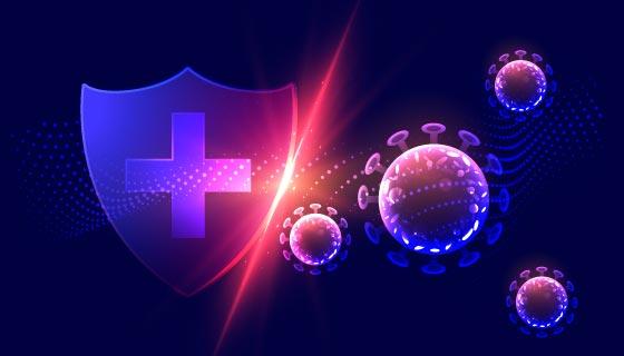 新型冠状病毒防护概念设计矢量素材(EPS)