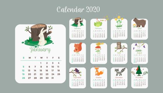 可爱的动物植物设计2020年日历矢量素材(AI/EPS)
