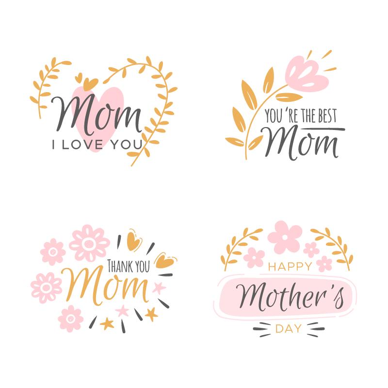 花卉设计母亲节标签矢量素材(AI/EPS/免扣PNG)