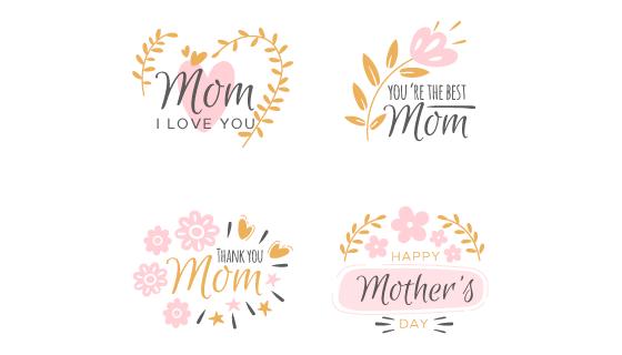 花卉设计母亲节标签矢量素材(AI/EPS/PNG)