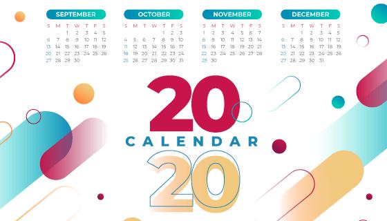 抽象多彩的2020年日历矢量素材(AI/EPS)