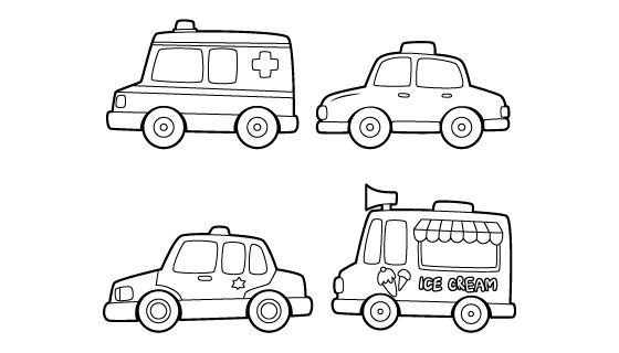 手绘儿童黑白玩具车矢量素材(AI/EPS/PNG)
