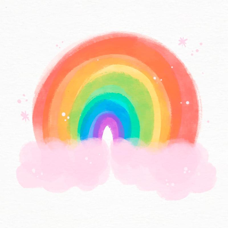 水彩风格可爱彩虹矢量素材(AI/EPS)