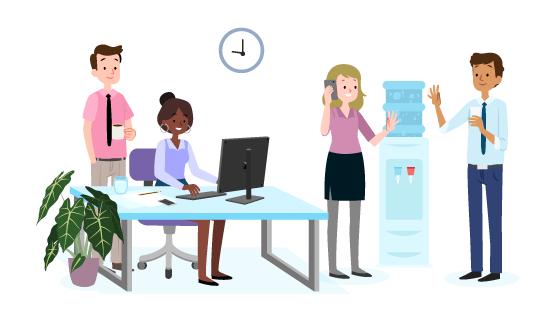 办公室里的白领们矢量素材(AI/EPS/PNG)