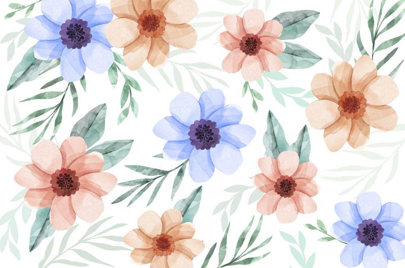 水彩风格漂亮花卉矢量素材(AI/EPS)