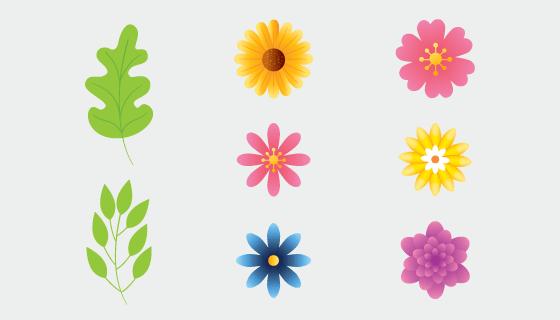可爱简单的花朵和叶子矢量素材(EPS/PNG)