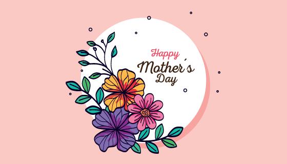 手绘花卉母亲节快乐卡片矢量素材(EPS)