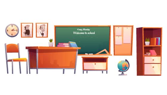 各种各样的学校教室物品矢量素材(EPS/PNG)
