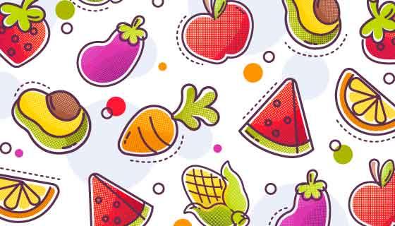 彩色半色调风格水果蔬菜矢量素材(AI/EPS/PNG)